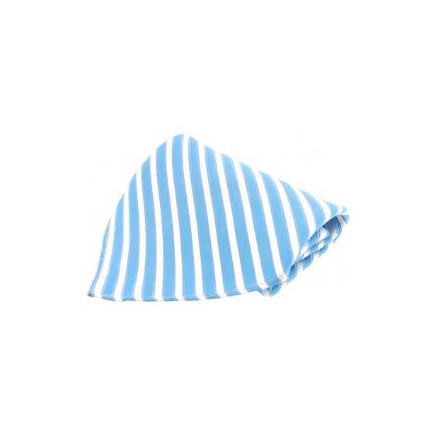 Sky Blue Striped Silk Pocket Square