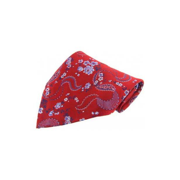 Red Floral Patterned Silk Pocket Square