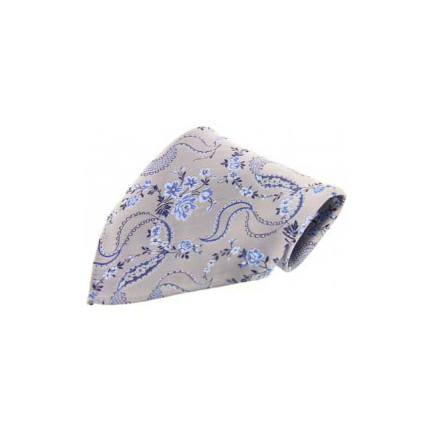 Light Grey Floral Patterned Silk Pocket Square