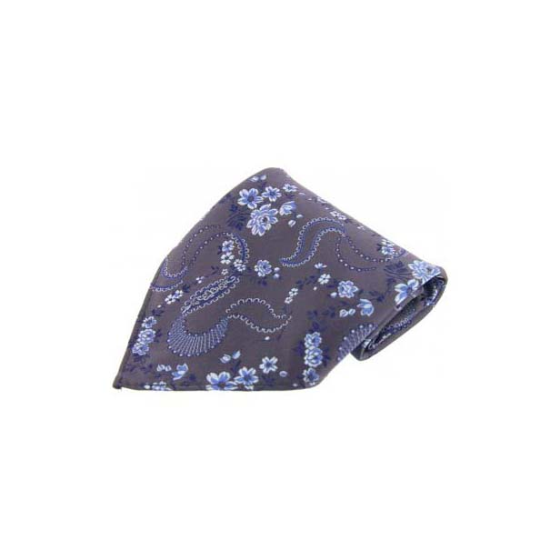 Dark Grey Floral Patterned Silk Pocket Square