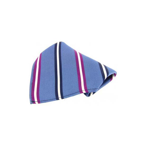 Blue with Multi Coloured Stripes Silk Pocket Square