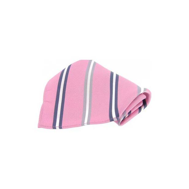 Pink with Multi Coloured Stripes Silk Pocket Square