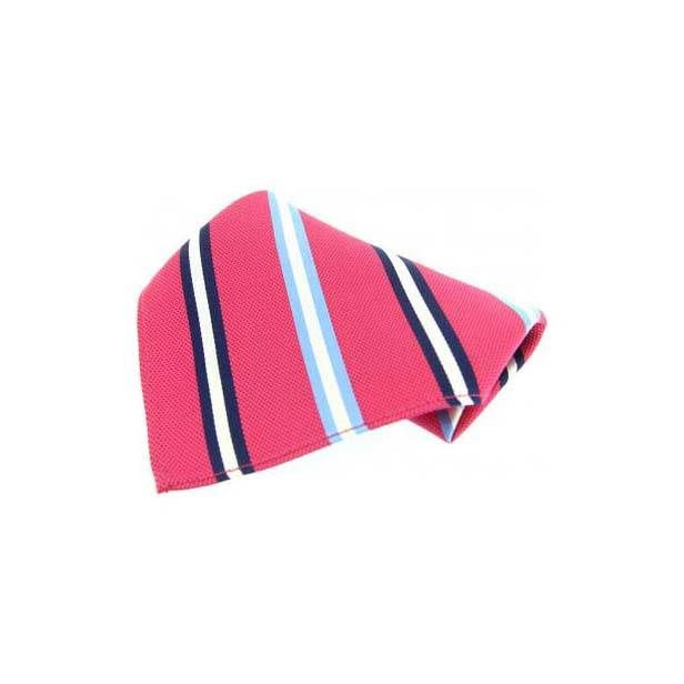 Fuchsia with Multi Coloured Stripes Silk Pocket Square