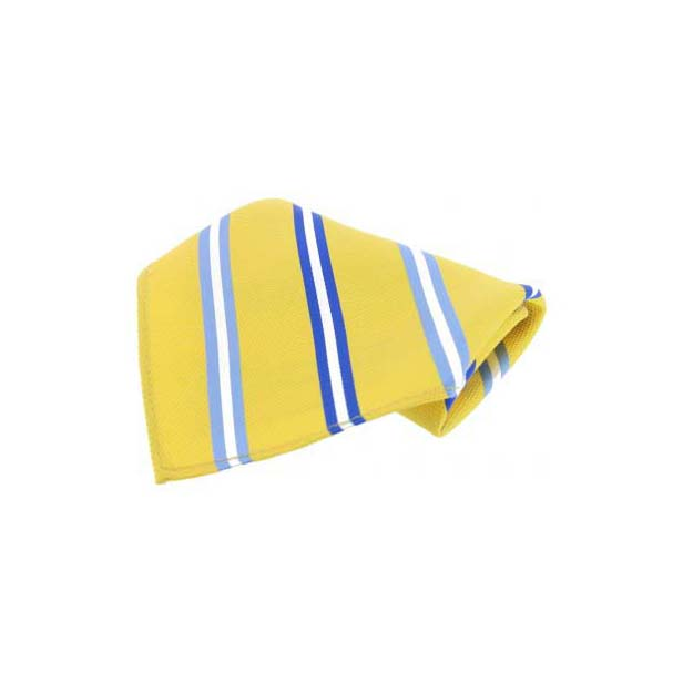 Yellow with Blue Stripes Silk Pocket Square