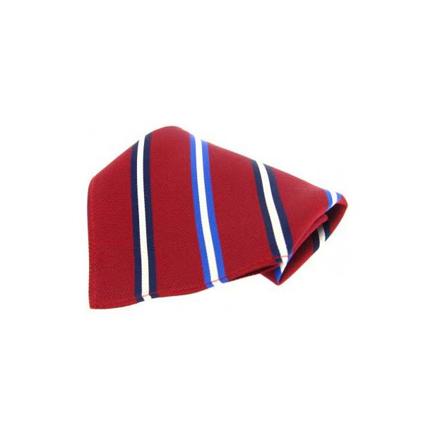 Red with Navy, White and Blue Stripes Silk Pocket Square