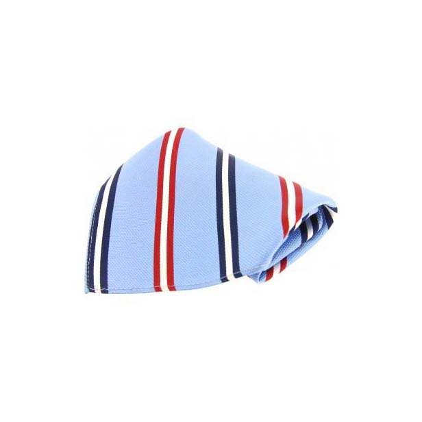 Blue with Navy and Red Stripes Silk Pocket Square