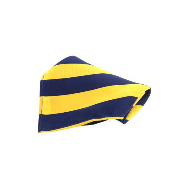Gold and Navy Stripes Silk Pocket Square