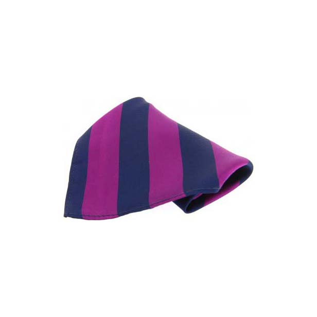 Purple and Navy Stripes Silk Pocket Square