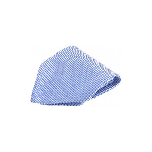 Small Blue Checked Silk Pocket Square