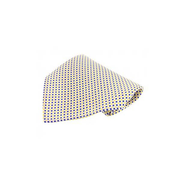 Small Blue and Yellow Checked Silk Pocket Square