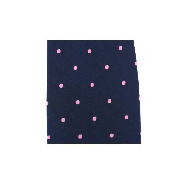 Navy with Pink Spots Silk Pocket Square
