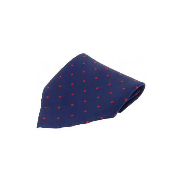 Navy & Red Polka Dots Silk Pocket Square