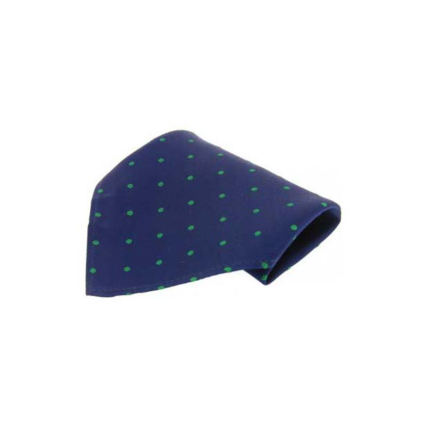 Navy with Green Spots Silk Pocket Square