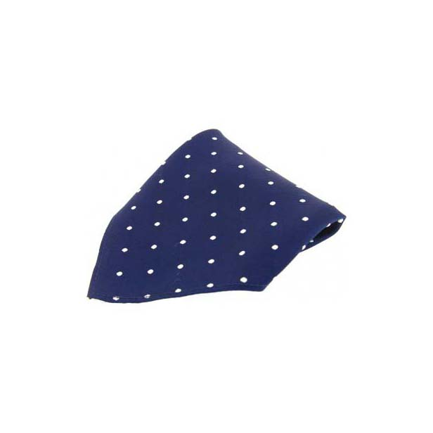 Navy & White Polka Dots Silk Pocket Square