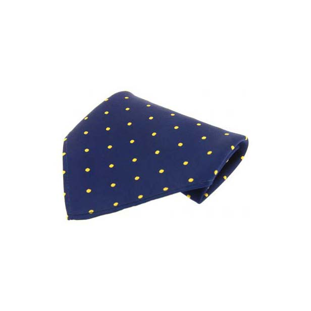 Navy with Yellow Polka Dots Silk Pocket Square
