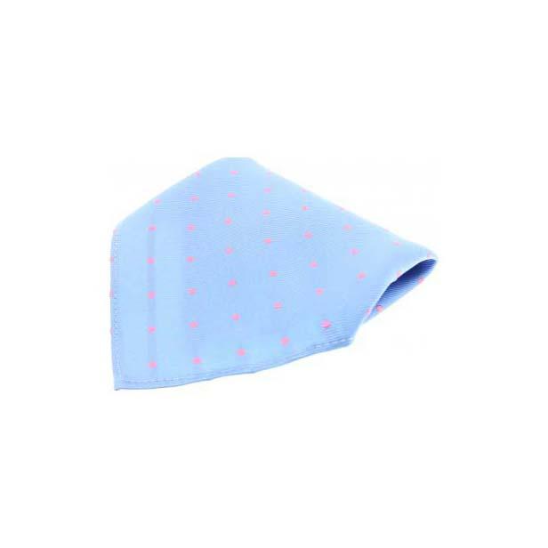 Sky Blue & Pink Polka Dots Silk Pocket Square