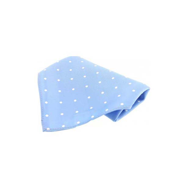 Sky Blue with White Polka Dots Silk Pocket Square