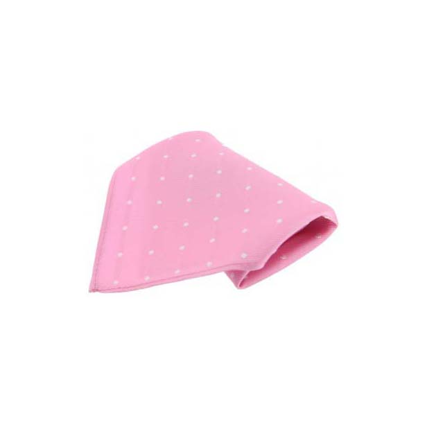 Pink with White Polka Dots Silk Pocket Square