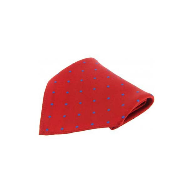 Red with Blue Polka Dots Silk Pocket Square