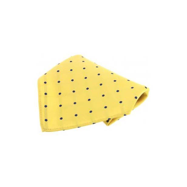Yellow with Navy Polka Dots Silk Pocket Square