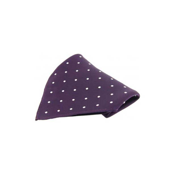 Purple with White Polka Dots Silk Pocket Square