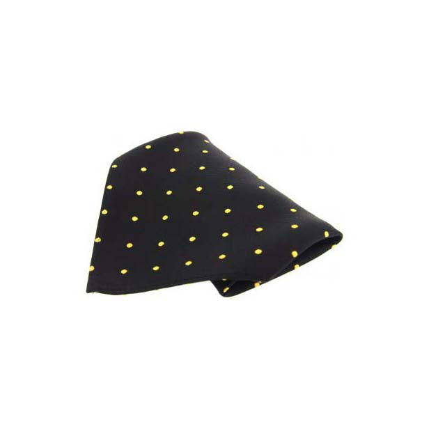 Black with Yellow Polka Dots Silk Pocket Square