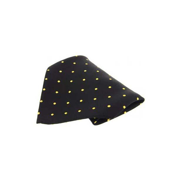 Black with Yellow Polka Dots Silk Pocket Square