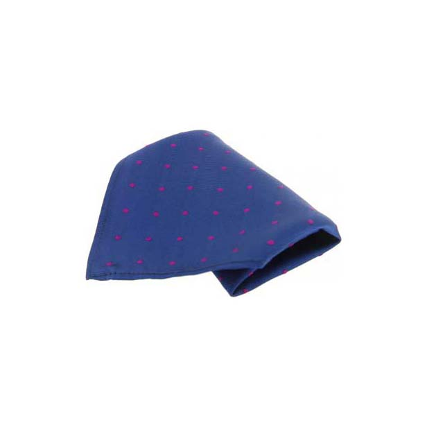 Blue with Red Polka Dots Silk Pocket Square