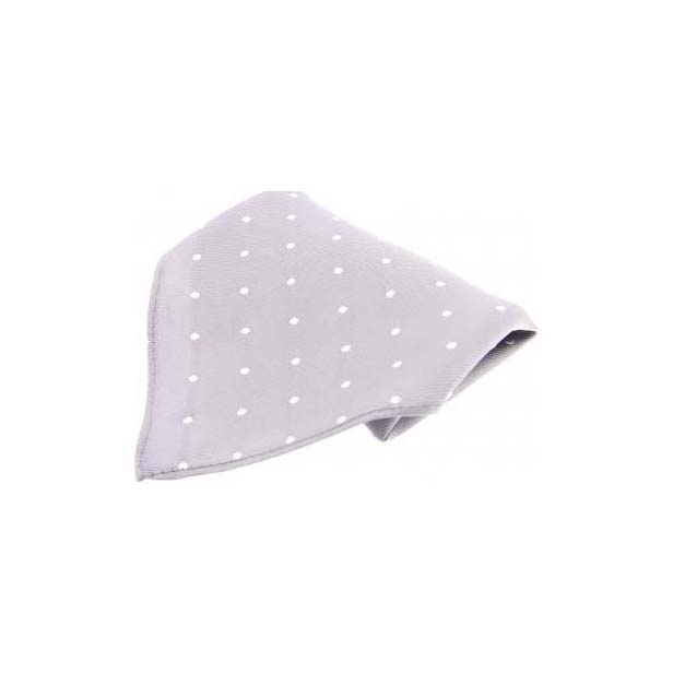 Grey with White Polka Dots Silk Pocket Square