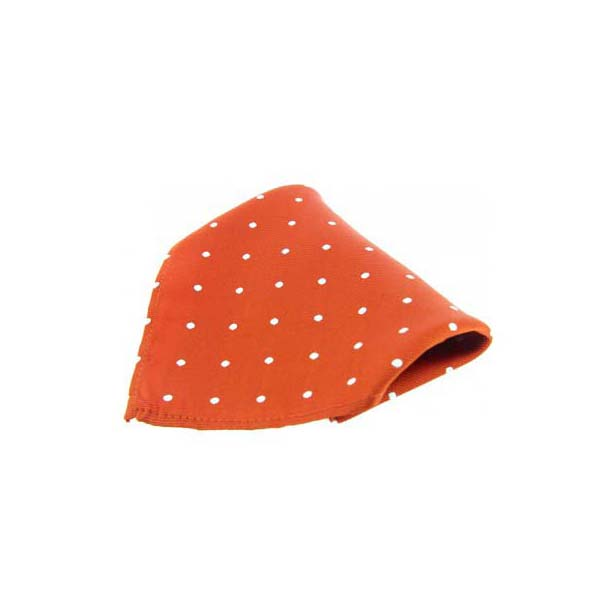 Orange with White Polka Dots Silk Pocket Square