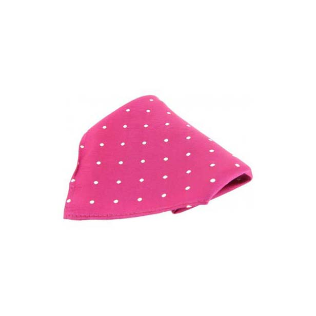 Fuchsia with White Polka Dots Silk Pocket Square
