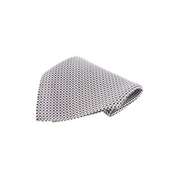 Black and White Small Checked Silk Pocket Square
