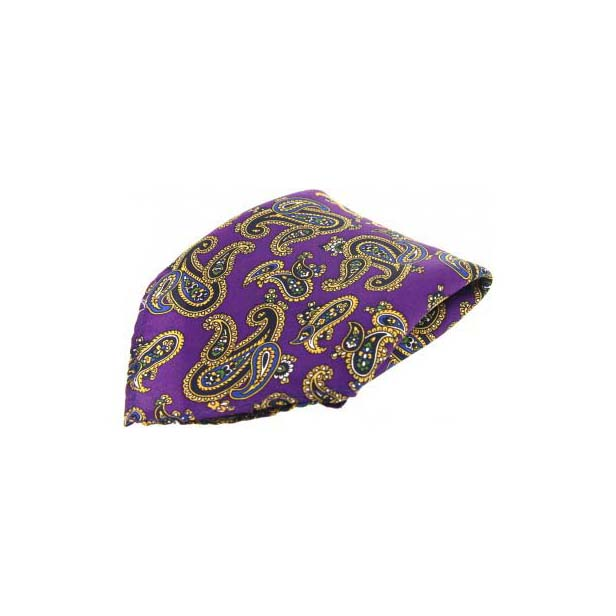 Purple with Large Paisley Silk Pocket Square