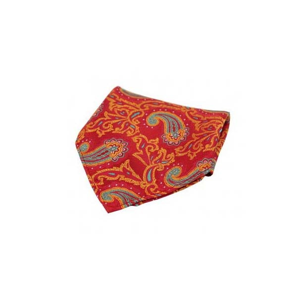 Large Edwardian Paisley on Red and Orange Silk Pocket Square