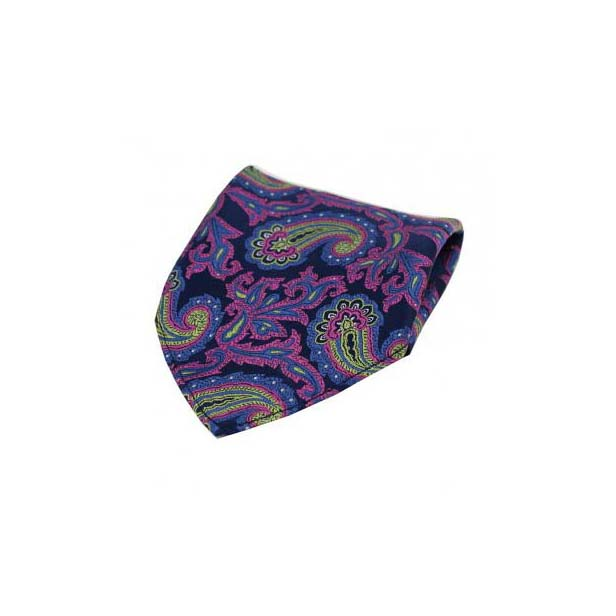 Large Edwardian Paisley on Navy and Pink Silk Pocket Square