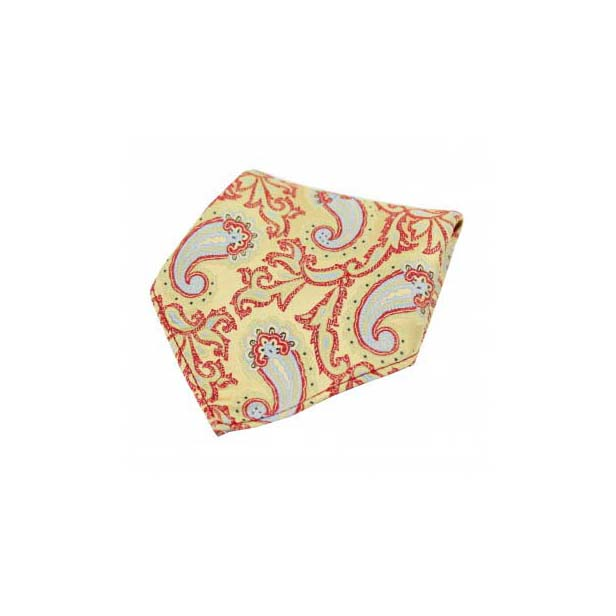 Large Edwardian Paisley on Gold and Red Silk Pocket Square