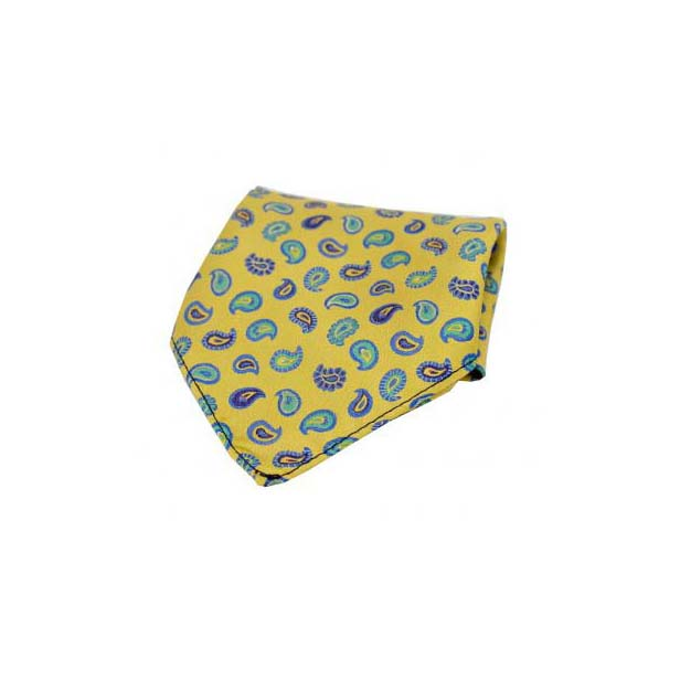 Multi Coloured Teardrop Paisley on Gold Silk Pocket Square