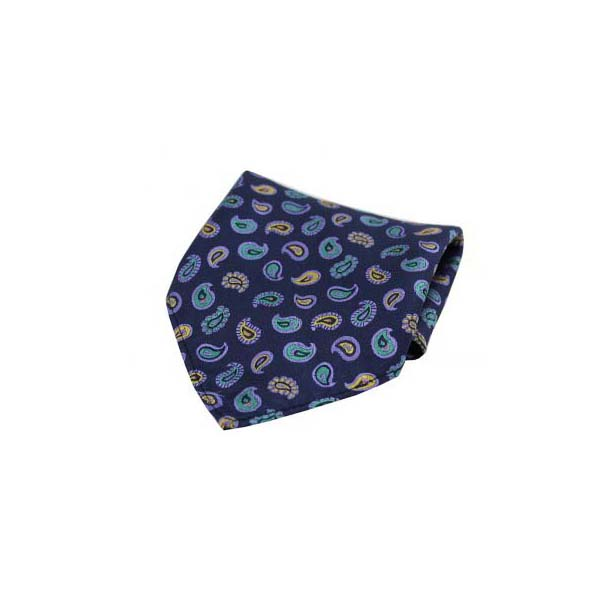 Multi Coloured Teardrop Paisley on a Navy Silk Pocket Square
