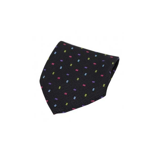 Multi Coloured Small Rectangle Pattern on Black Silk Pocket Square