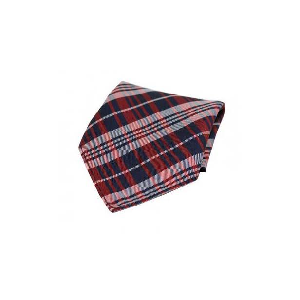 Red Tartan Pattern Silk Pocket Square