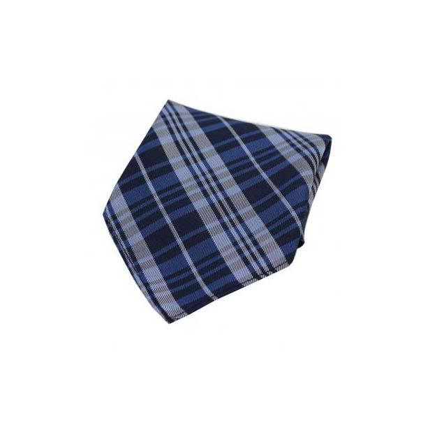 Blue Tartan Pattern Silk Pocket Square