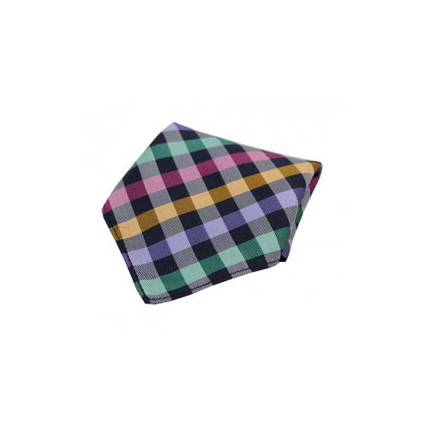 Multi Colour Checked Silk Pocket Square