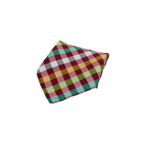 Multi Coloured Checks on Red Silk Pocket Square