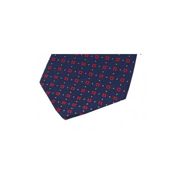 Red Box Neat Pattern on a Navy Silk Pocket Square