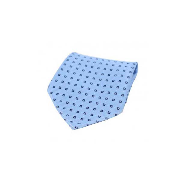 Navy Box Neat Pattern on Light Blue Silk Pocket Square