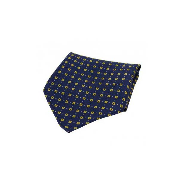 Yellow Box Neat Pattern on a Navy Silk Pocket Square