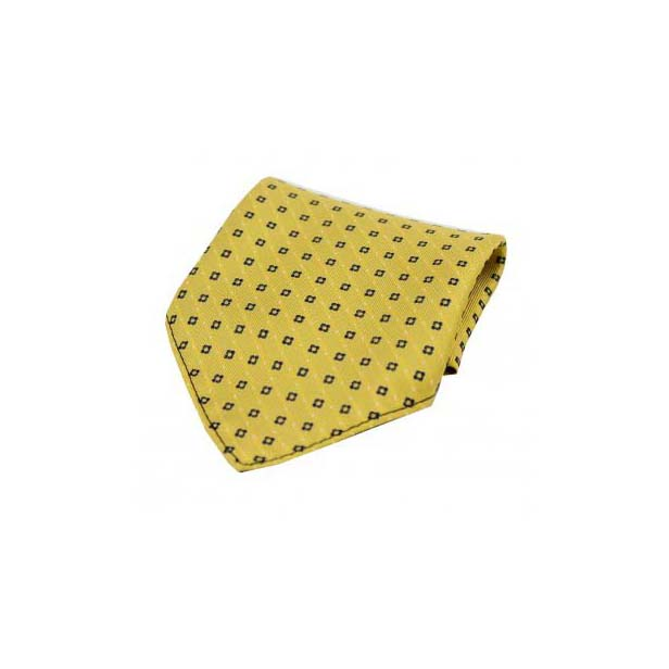 Navy Box Neat Pattern on Mustard Silk Pocket Square