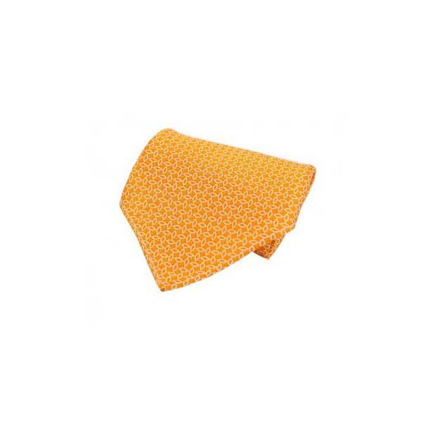 White Diamond Link Pattern on Orange Silk Pocket Square