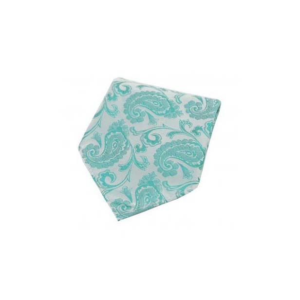 Persian Green Paisley Silk Pocket Square