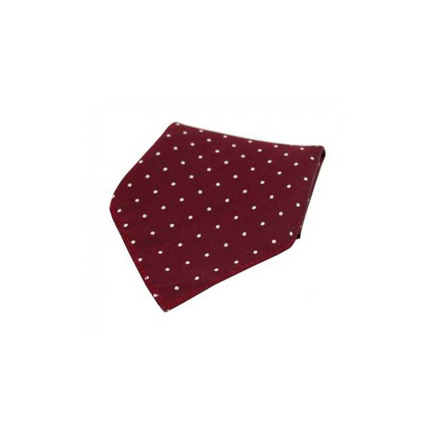 Wine and White Pin Dot Silk Pocket Square
